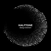 Halftone circle frame with white abstract random dots on black background. Logo design element for technology, medical, treatment. Round border using halftone circle dots raster texture. Vector.