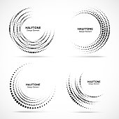 Halftone circular vortex dotted frame set. Circle swirl dots isolated on white background. Logo design element for technology, medical, treatment. Round border using halftone circle dots texture.