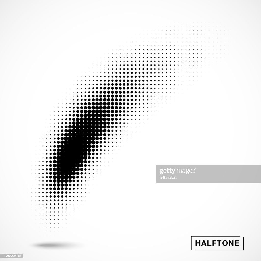 Halftone curved gradient pattern texture isolated on white background . Curve brush smear using halftone circle dots raster texture. Vector illustration.