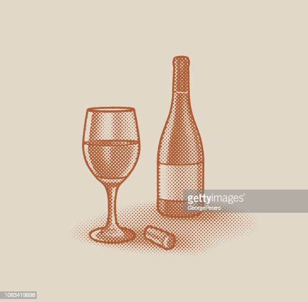 Halftone Dot Glass of wine and wine bottle