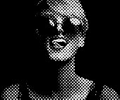 Halftone Dot Pattern Portrait of a Vibrant, happy woman