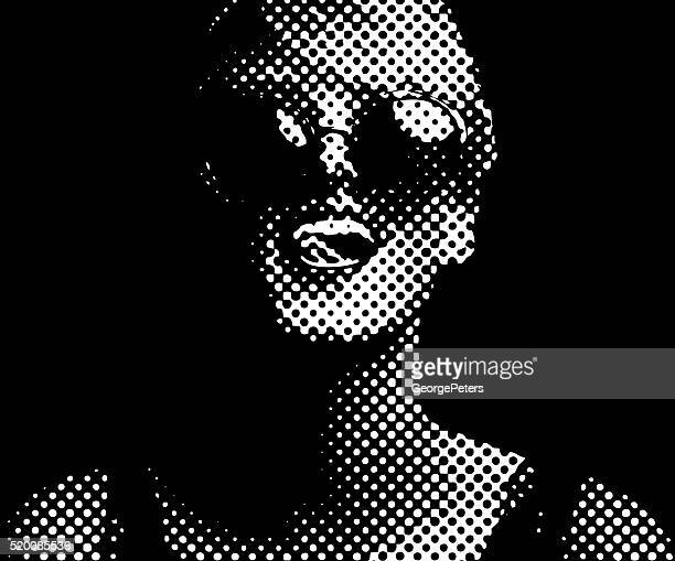 halftone dot pattern portrait of a vibrant, happy woman - silk screen stock illustrations