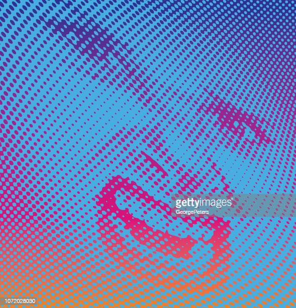halftone dot vector of woman's angry expression - stretched image stock illustrations, clip art, cartoons, & icons