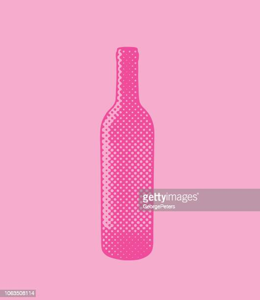 halftone dot wine bottle - silk screen stock illustrations