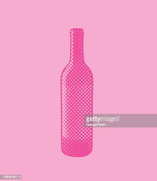 ilustraciones, imágenes clip art, dibujos animados e iconos de stock de botella de vino de puntos de semitono - botella de vino