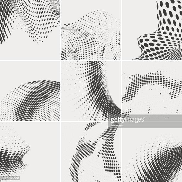 halftone dots collection - half tone stock illustrations