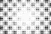 Halftone dots. Monochrome vector texture background for prepress, DTP, comics, poster. Pop art style template