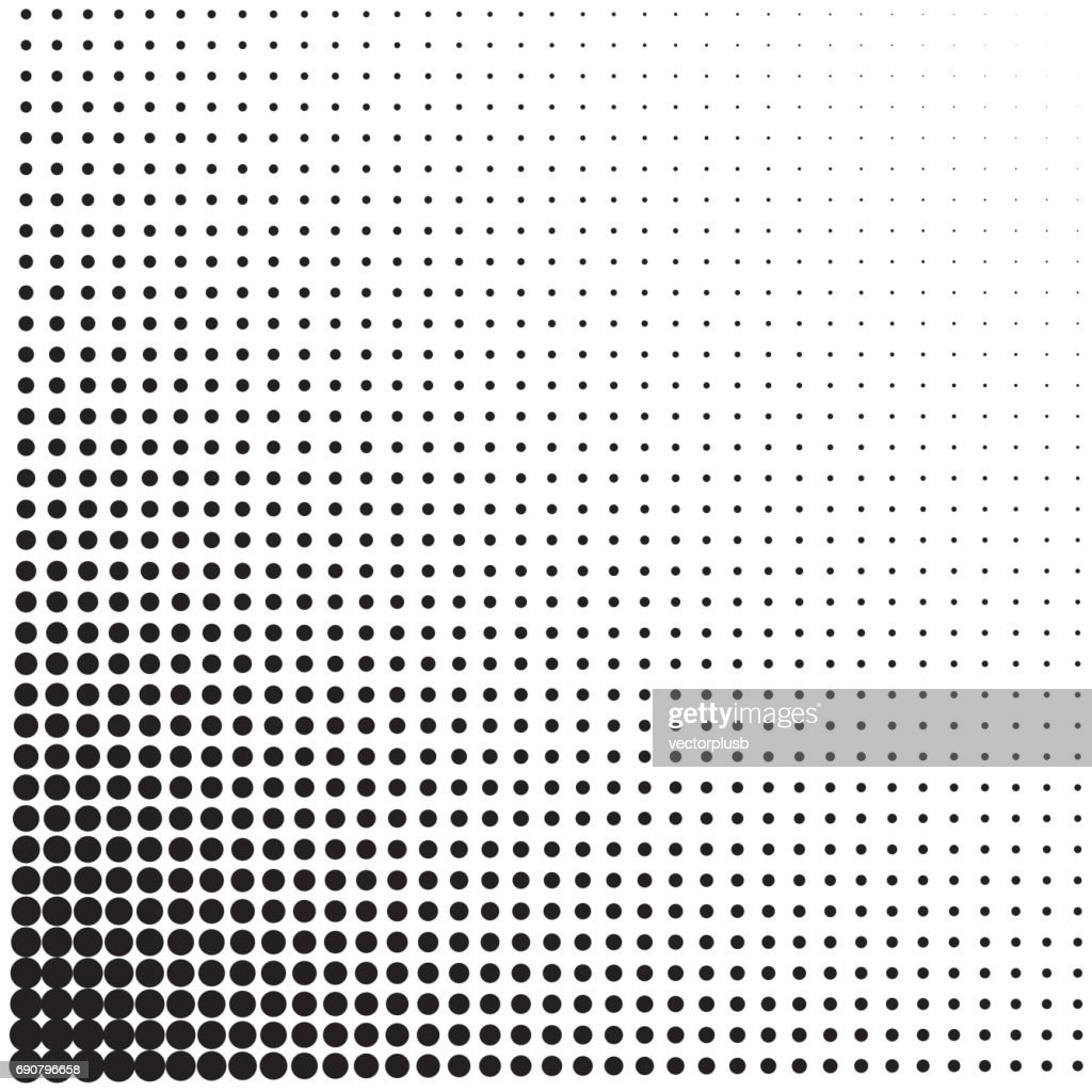 Halftone dotted vintage retro gradients pattern. Monochrome pop art vector illustration