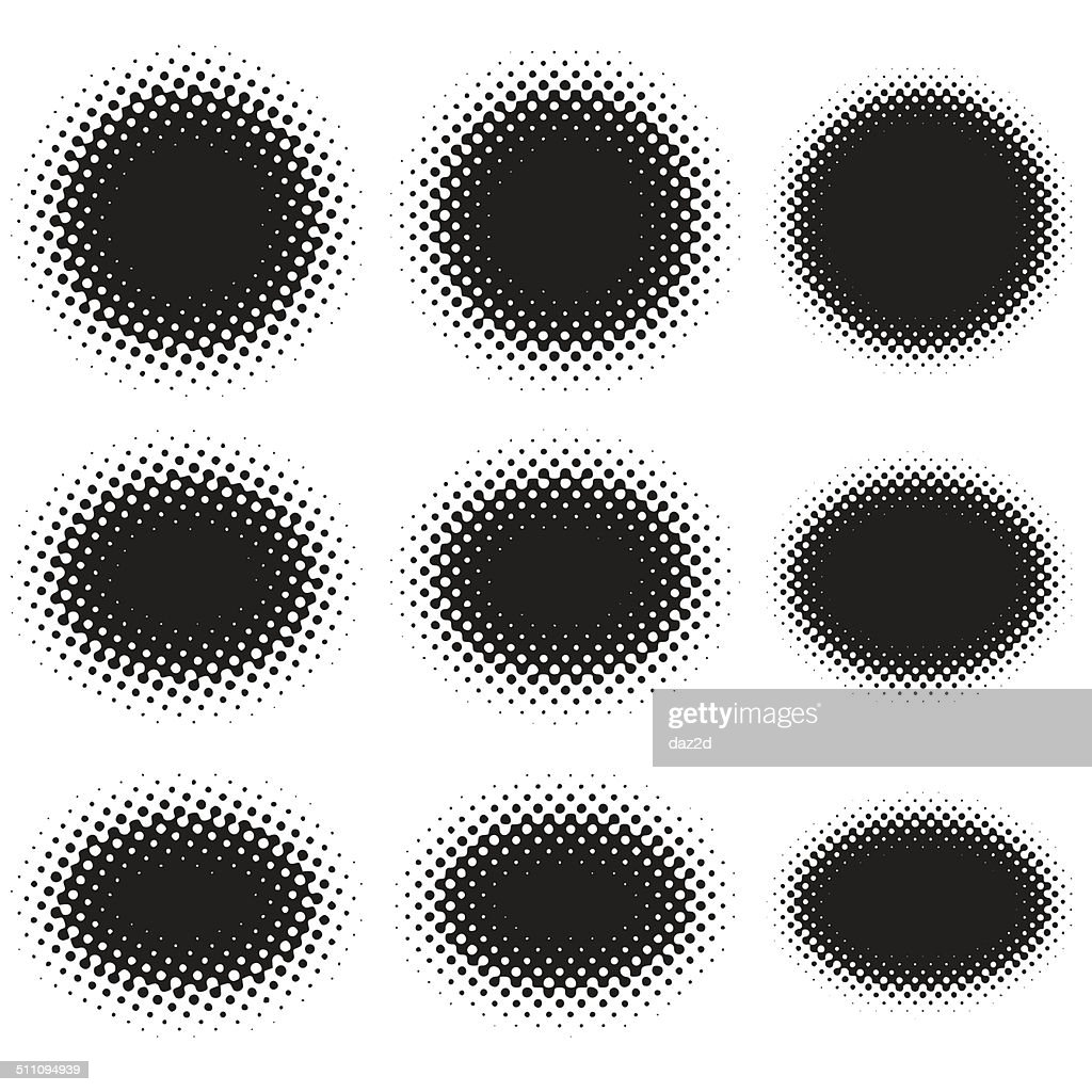 Halftone Ellipse Shape Set On White