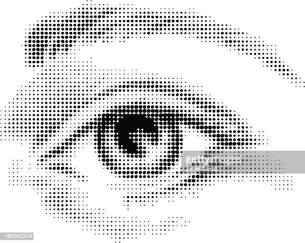 halbton eye - nahaufnahme stock-grafiken, -clipart, -cartoons und -symbole