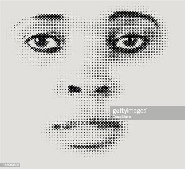 Halftone Face Illustration - VECTOR