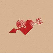 Halftone Icon - Arrow heart