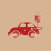Halftone Icon - Electric car