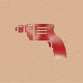 Halftone Icon - Electric drill