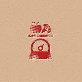 Halftone Icon - Food scale
