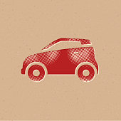 Halftone Icon - Green car