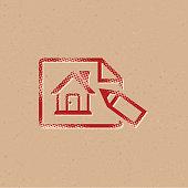 Halftone Icon - House blueprint