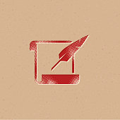 Halftone Icon - Letter quill pen