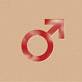 Halftone Icon - Male symbol