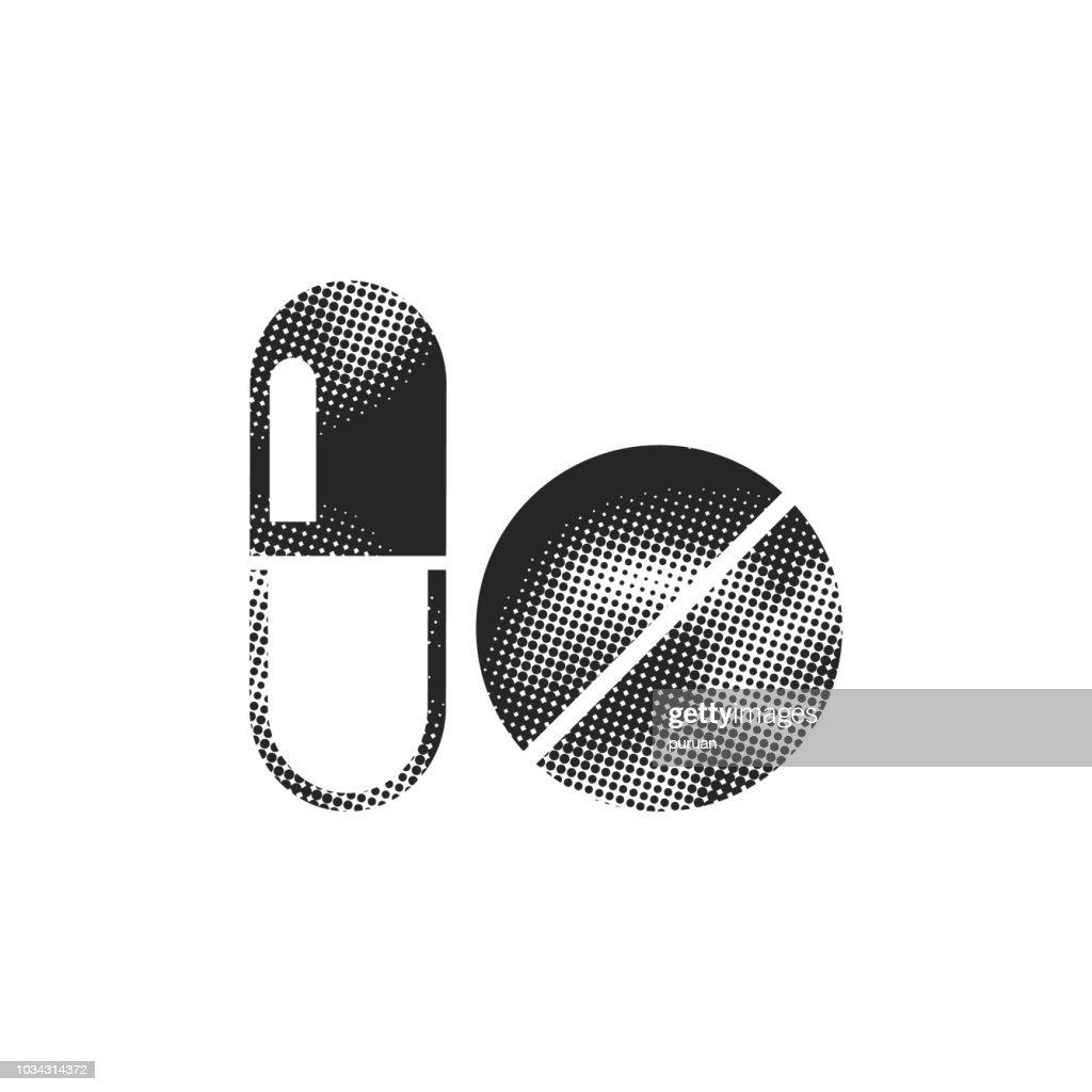 Halftone Icon - Pills