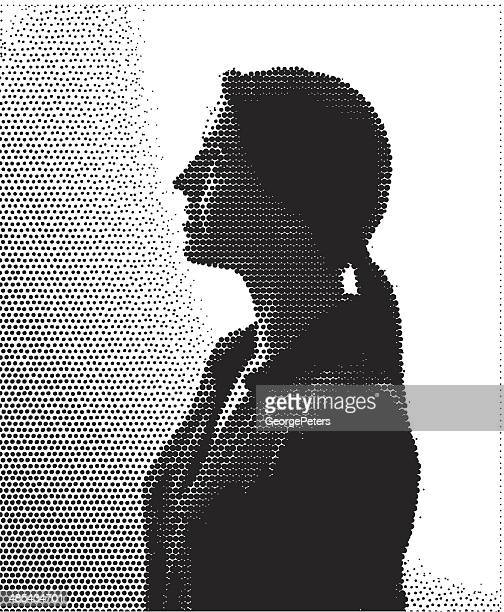 halftone illustration portrait of young woman - stipple effect stock illustrations