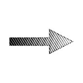 Halftone Linear Black Arrow vector icon symbol design. Illustration isolated on white background. Linear Black Dot Arrow. Vector Arrow Halftone Background.