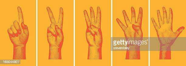 halftone number fingers - hand stock illustrations