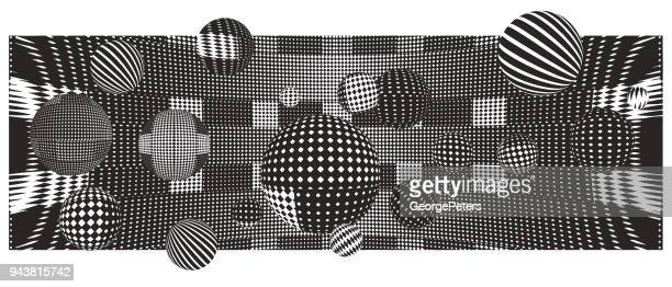 halftone pattern abstract background - optical illusion stock illustrations