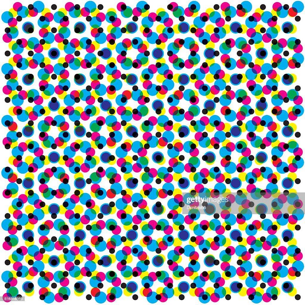 CMYK halftone pattern filling a gray background