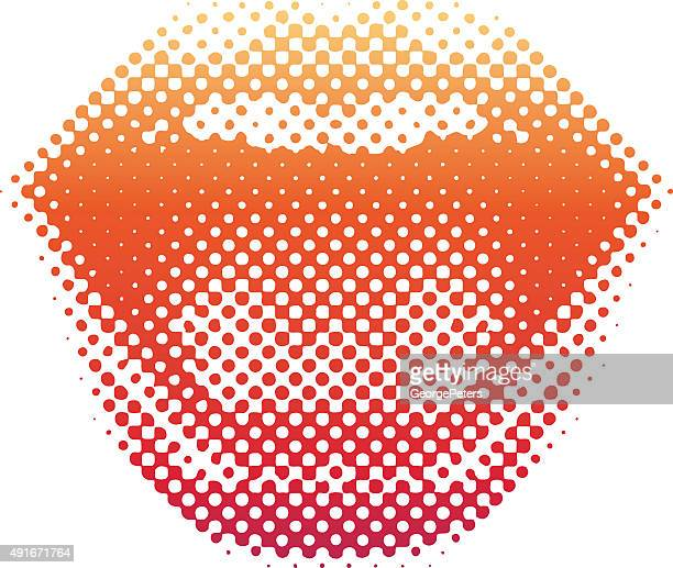 halftone pattern lips laughing and smiling - silk screen stock illustrations, clip art, cartoons, & icons
