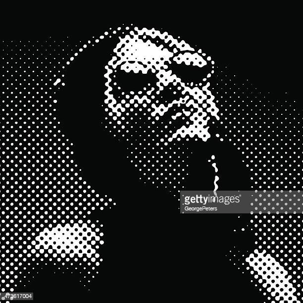 Halftone Pattern. Portrait of a French Diva