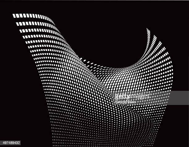 halftone pattern wavy grid with gradient and black background - architecture stock illustrations