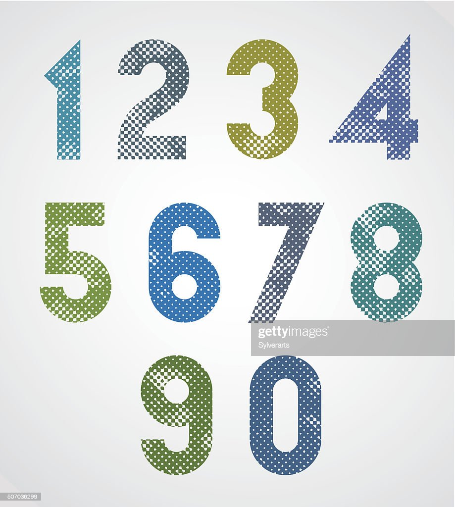 Halftone print dots textured geometric numbers.