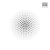 Halftone Vector Circle Isolated on White Background. Half Tone Circle Made of Dots Pattern