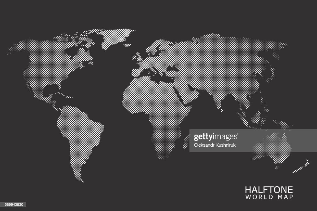 Halftone vector world map vector art getty images halftone vector world map vector art gumiabroncs Image collections