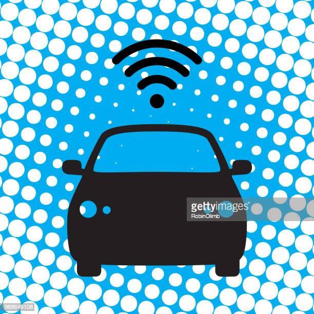 Halftone Wireless Car Icon