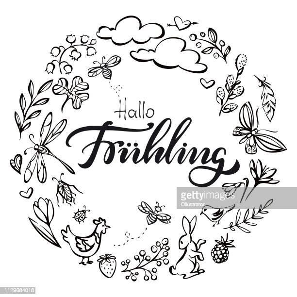 hallo fruehling (hallo frühling in deutscher sprache) kranz abbildung - frühling stock-grafiken, -clipart, -cartoons und -symbole