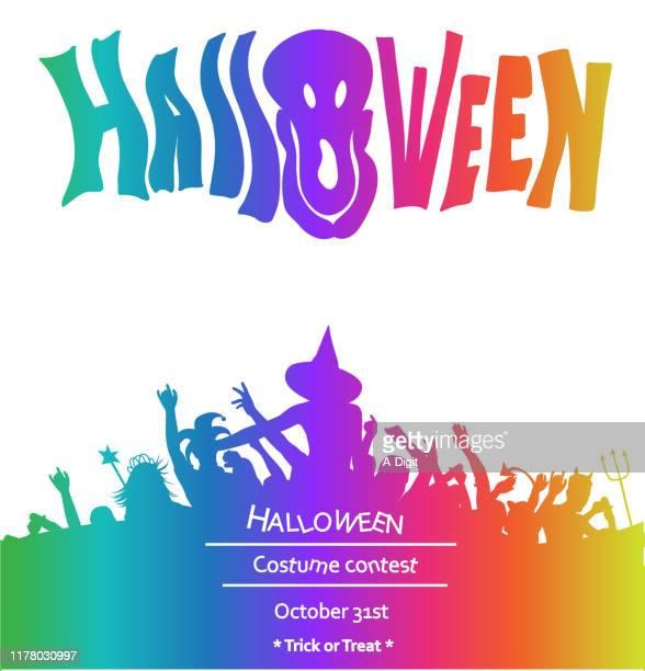ハロウィーン大人のパーティー魔女群衆レインボー - コンテスト点のイラスト素材/クリップアート素材/マンガ素材/アイコン素材