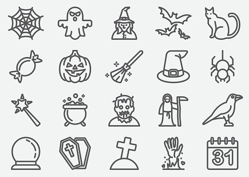 Halloween And Ghost Line Icons - gettyimageskorea
