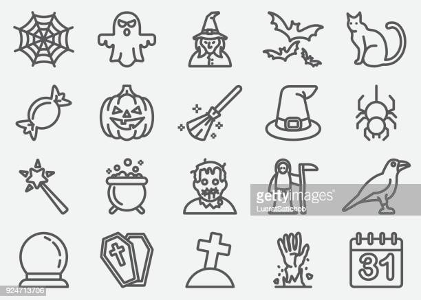halloween and ghost line icons - spider stock illustrations