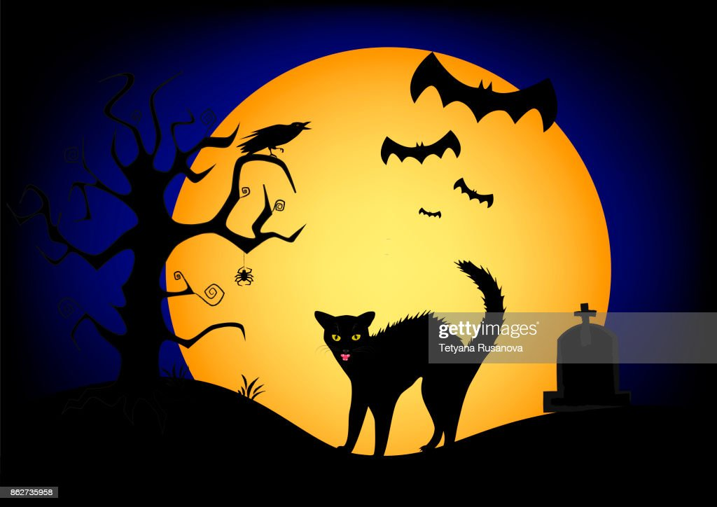 halloween angry black cat on the big yellow moon and dark blue sky background, horizontal