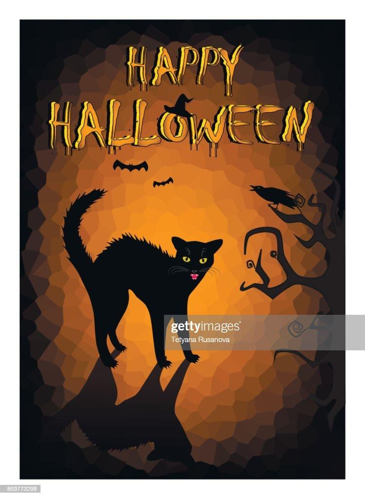 Halloween angry black cat on the dark orange background, vertical