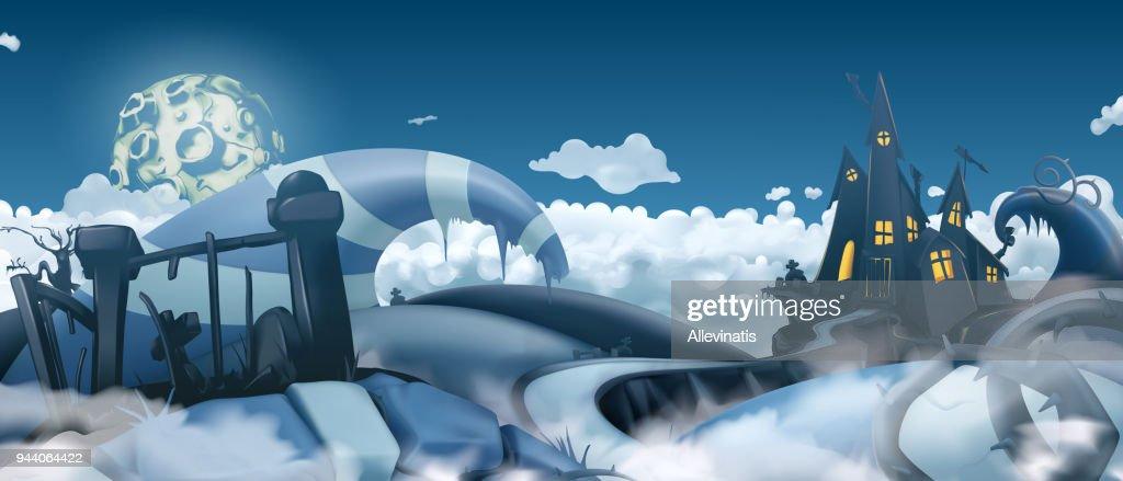 Halloween background. Cartoon landscape panorama, 3d vector graphics
