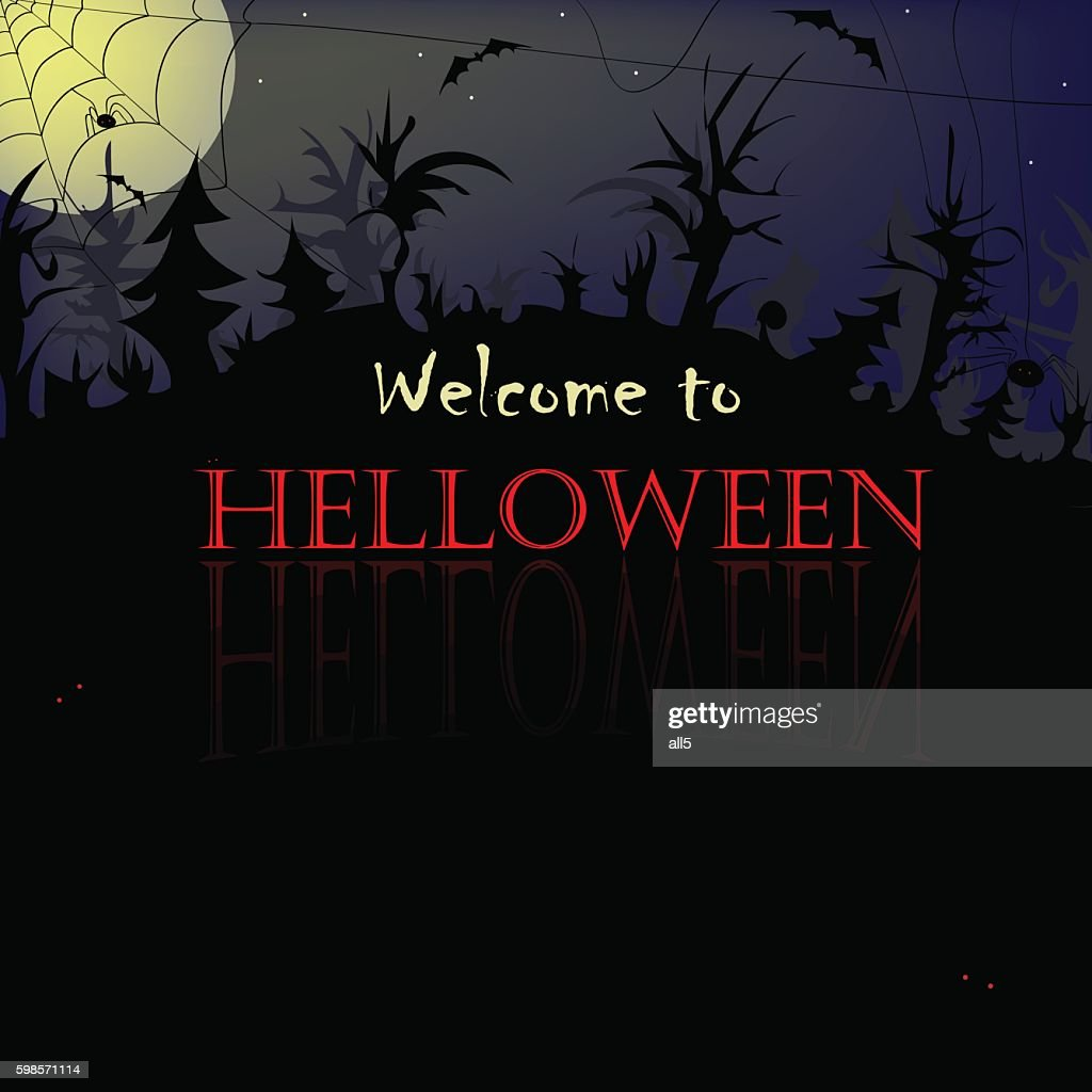 Halloween background , foggy night scary forest