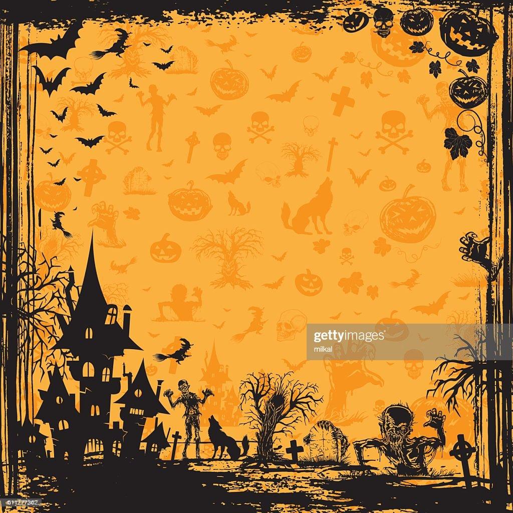Halloween background frame orange pattern