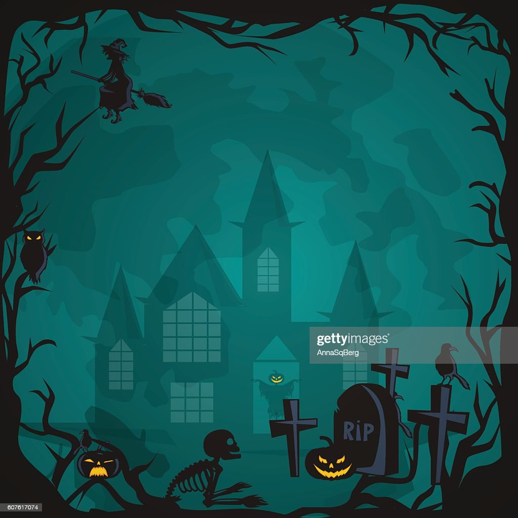 Halloween background. Horror forest with woods, spooky tree, pumpkins and