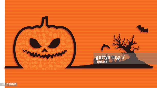 Halloween background [Jack o' Lantern and Graveyard]