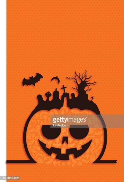 halloween background [jack o' lantern and graveyard] - entusiástico stock illustrations