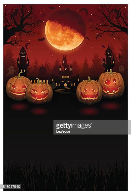 Halloween background [Jack o' Lantern and half moon]