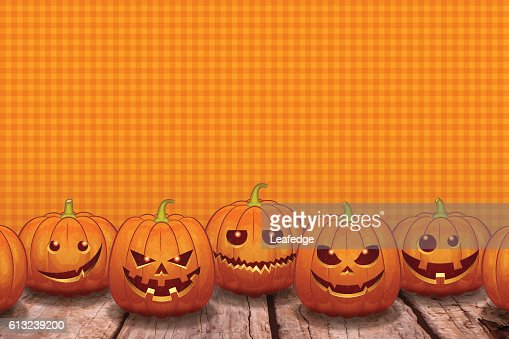 Halloween Background Jack O Lantern On The Board Stock